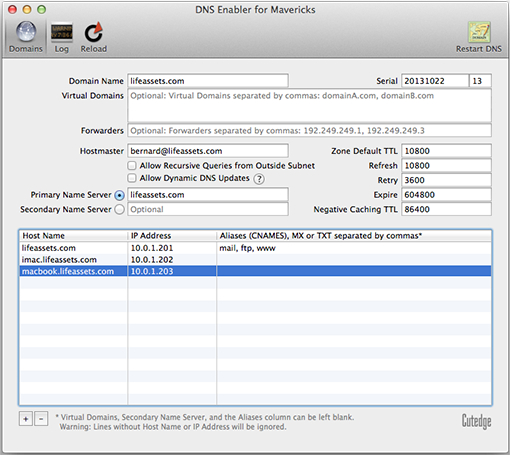 DNS Enabler for Mavericks